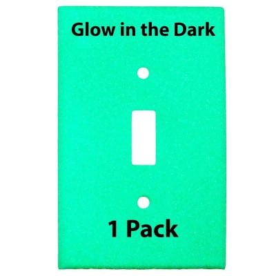 Glow in the Dark Safety  Gang Wall Cover Plate White Plastic Standard Size for Single Toggle Light Switch Single P BCRXWY