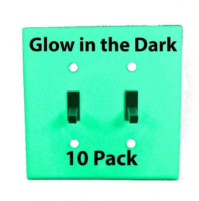 Glow in the Dark Safety  Gang Wall Cover Plate White Plastic Standard Size for Double Toggle Light Switch  Pack BCWBPK