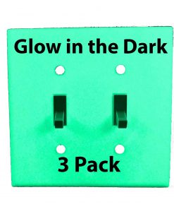Glow in the Dark Safety  Gang Wall Cover Plate White Plastic Standard Size for Double Toggle Light Switch  Pack BDQKHBWP
