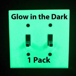 Glow in the Dark Safety  Gang Wall Cover Plate White Plastic Standard Size for Double Toggle Light Switch Single P BCWXG