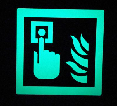 Press Alarm Button with Fire   Square Glow in The Dark Emergency Fire Safety Sign BHQCCM